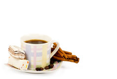 Coffee cup with sweets an cinnamon Royalty Free Stock Photography