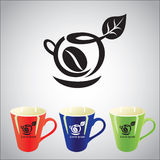Coffee cup symbol. Illustration with black coffee symbol and three colored cups Stock Images