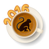 Coffee cup with symbol of New Year 2016 Stock Photography