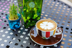 Coffee cup on table in cafe Royalty Free Stock Image