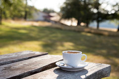 Coffee cup on table, selective focus Royalty Free Stock Photo