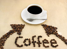 Coffee. Cup of coffee on the tablecloth Royalty Free Stock Photo