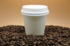 Coffee and Cup Take Out. Roast Coffee Beans and white take out cup orange background Royalty Free Stock Image