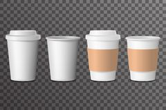 Coffee cup takeaway with cover 3d realistic mockup transparent background design vector illustration royalty free illustration