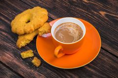 coffee cup with tasty biscuit cookie Royalty Free Stock Image