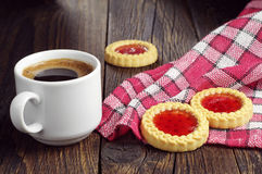 Coffee cup and tasty cookies Stock Image