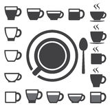 Coffee cup and Tea cup icon set.Illustration Stock Photo