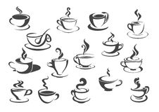 Coffee cup and tea mug isolated icon set Royalty Free Stock Image