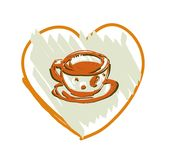 Coffee or cup of tea on a white background. Vector illustration. Royalty Free Stock Photos