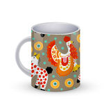 Coffee cup template illustration with Beautiful pattern with and horse in Russian Dymkovo style. Vector . Stock Images