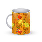 Coffee cup template illustration with flower russian traditional pattern. Vector Stock Photos