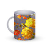 Coffee cup template illustration with flower russian traditional pattern. Vector Royalty Free Stock Images