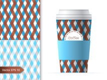Coffee cup template illustration. With the two geometric patterns design in brown and blue color Stock Image