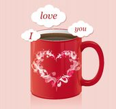 Coffee cup with text area Valentines day card Stock Photo