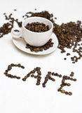 Coffee cup text - 'cafe' Stock Image