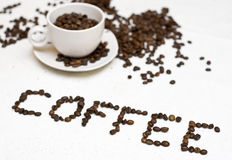 Coffee cup text - 'coffee' Stock Image