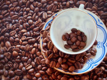 Coffee cup from thin porcelain against the background   grains Royalty Free Stock Image