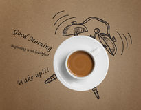 Coffee cup time clock concept design background. Coffee cup and clock from drawing Royalty Free Stock Photo