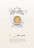 Coffee cup time clock concept design background. EPS10,Illustrator Stock Photos