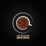 Coffee cup time clock concept design background Royalty Free Stock Photos