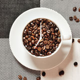 Coffee cup time clock - wake up breakfast concept Stock Photography