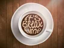 Coffee cup with time lettering, motivation quotes about time, awaking, right moment. Realistic black coffee on brown. Wooden background with motivation Stock Images