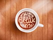 Coffee cup with time lettering, motivation quotes about time, awaking, right moment. Realistic black coffee on brown. Wooden background with motivation Stock Image