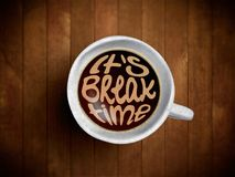 Coffee cup with time lettering, motivation quotes about time, awaking, right moment. Realistic black coffee on brown. Wooden background with motivation Stock Photo