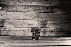 Coffee cup to go. To go cup of coffee made of coffee beans, do it yourself project royalty free stock photo
