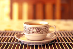 Coffee. A cup of coffee to revitalize the foreshore Stock Image