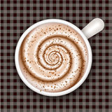 Coffee cup top view, gingham background Stock Images
