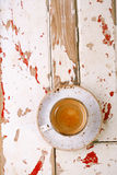 Coffee cup top view on old wooden table Royalty Free Stock Image