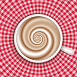 Coffee cup top view, red gingham background Stock Images