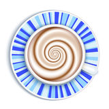 Coffee cup top view, striped saucer background Royalty Free Stock Photography