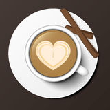 Coffee cup top view vector illustration. Royalty Free Stock Photography