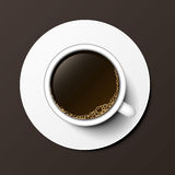 Coffee cup top view vector illustration. Royalty Free Stock Images