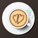 Coffee cup top view vector illustration. Stock Photography