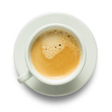 Coffee cup. Top view of coffee cup  on white Stock Photos
