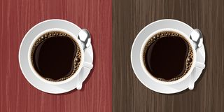 Coffee Cup. Top view at white cup with a fresh coffe standing on a saucer beside a coffee spoon. Vector illustration with a different wooden textures Stock Photography