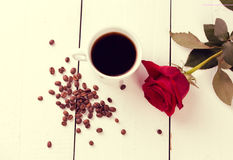 Coffee cup top view on white wood table background Royalty Free Stock Images