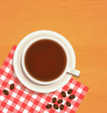 Coffee cup top view on wooden table Stock Photography