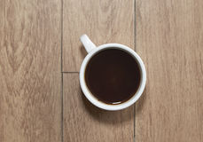 Coffee cup top view. On wooden table background with copy-space Stock Photography