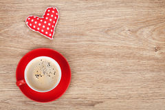 Coffee cup with toy heart gift Stock Photography