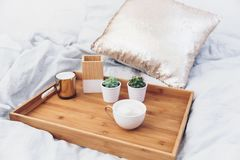 Coffee cup on tray. Styled morning at home. Interior stock photos