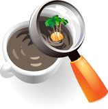 Coffee cup with tropic island Stock Photography