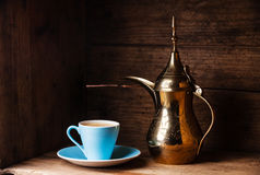 Coffee cup and Turkish Cezve Stock Photos