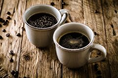 Coffee on wood royalty free stock images