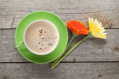 Coffee cup and two colorful gerbega flowers Stock Photos