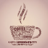Coffee cup typography words cloud Royalty Free Stock Images