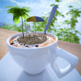 Coffee cup vacation relaxing concept composition Stock Image